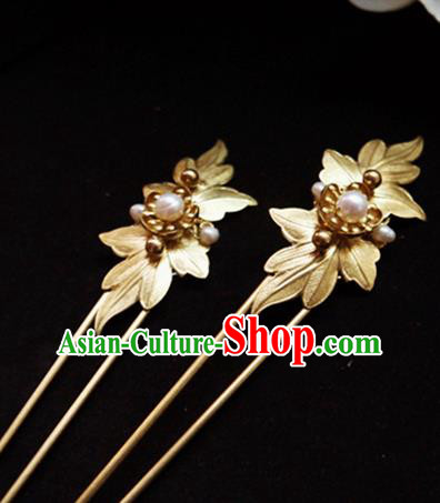 Chinese Ancient Hair Accessories Golden Leaf Hair Clip Traditional Bride Hanfu Hairpins for Women