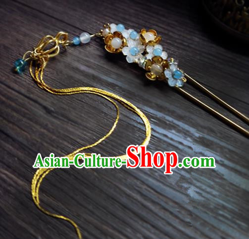 Chinese Ancient Hair Accessories Classical Tassel Hair Clip Traditional Bride Hanfu Hairpins for Women