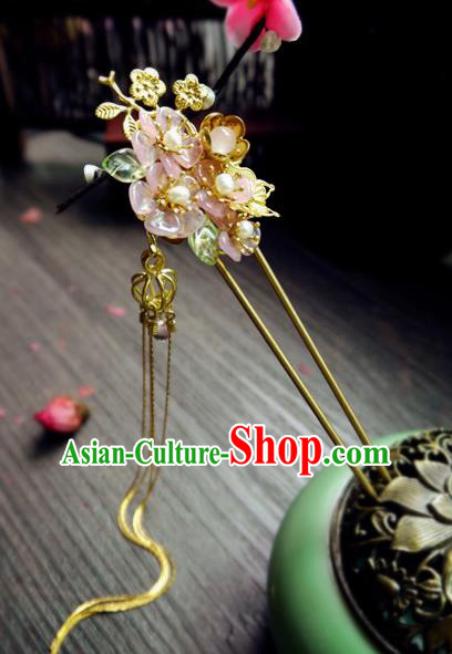 Chinese Ancient Hair Accessories Classical Pink Flowers Hair Clip Traditional Hanfu Tassel Hairpins for Women
