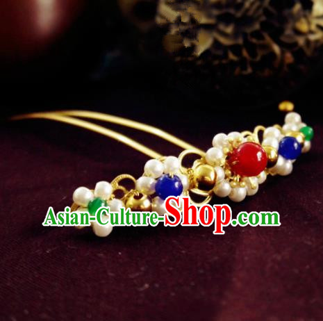 Chinese Ancient Hair Accessories Classical Pearls Hair Clip Traditional Hanfu Hairpins for Women