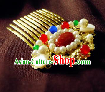 Chinese Ancient Hair Accessories Classical Pearls Agate Hair Comb Traditional Hanfu Hairpins for Women