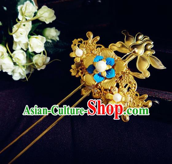 Chinese Ancient Princess Hair Accessories Palace Golden Hair Clip Traditional Hanfu Classical Hairpins for Women
