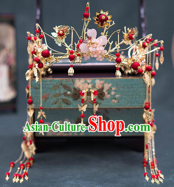 Chinese Ancient Palace Hair Accessories Hairpins Traditional Bride Tassel Hair Clasp for Women