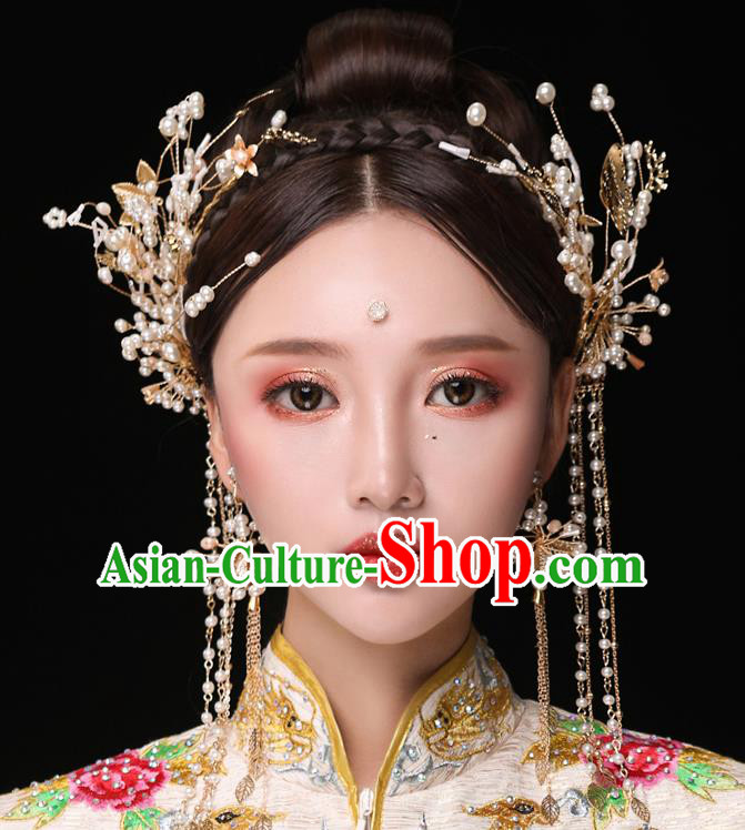 Chinese Ancient Bride Hair Accessories Traditional Wedding Pearls Tassel Hair Clasp Hanfu Hairpins for Women