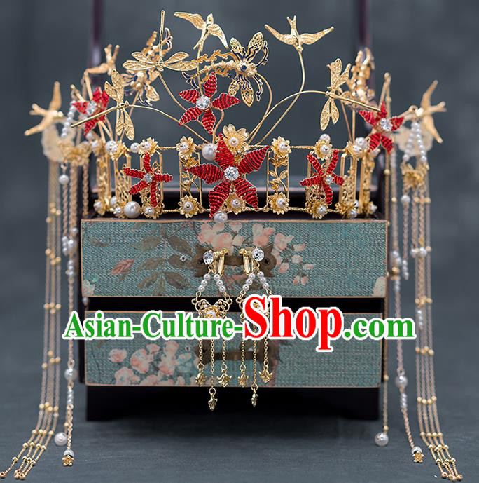 Chinese Ancient Bride Hair Accessories Traditional Wedding Red Flowers Phoenix Coronet Hanfu Hairpins for Women