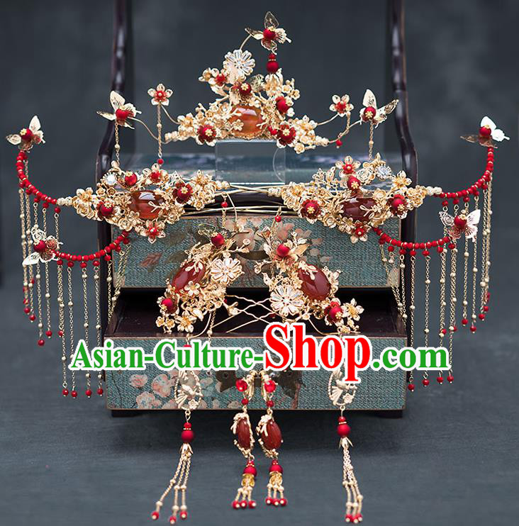 Chinese Ancient Bride Agate Hair Accessories Traditional Wedding Hanfu Hairpins Complete Set for Women