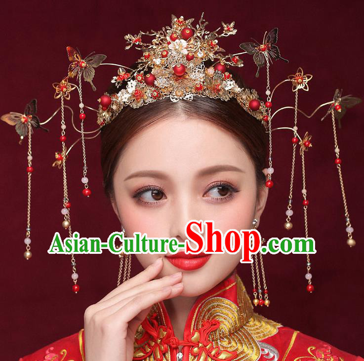 Chinese Ancient Bride Golden Phoenix Coronet Traditional Wedding Hair Accessories Hanfu Hairpins for Women