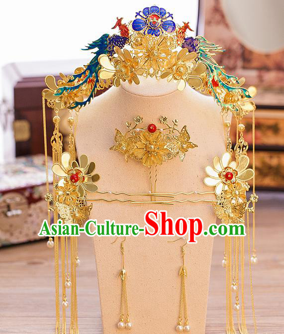Chinese Ancient Queen Blueing Phoenix Coronet Traditional Wedding Hair Accessories Hairpins for Women