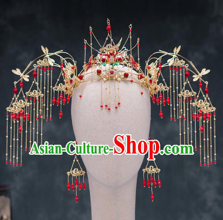 Traditional Chinese Ancient Bride Hairpins Wedding Phoenix Coronet Hair Accessories for Women