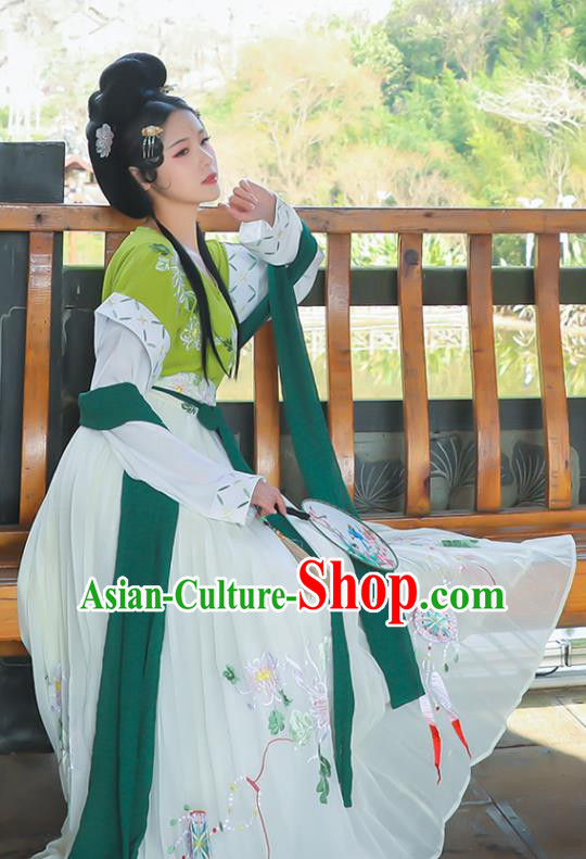 Traditional Chinese Tang Dynasty Princess Replica Costumes Ancient Peri Embroidered Hanfu Dress for Women