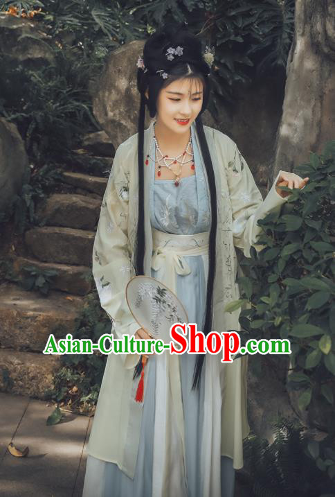 Traditional Chinese Song Dynasty Nobility Lady Replica Costumes Ancient Embroidered Hanfu Dress for Women