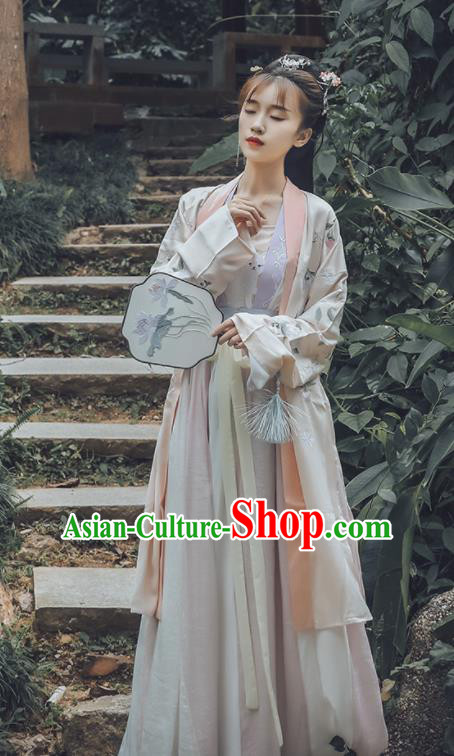 Traditional Chinese Song Dynasty Replica Costumes Ancient Princess Embroidered Hanfu Dress for Women