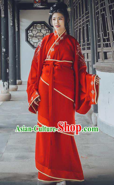Traditional Chinese Han Dynasty Imperial Concubine Replica Costumes Ancient Wedding Embroidered Hanfu Dress for Women