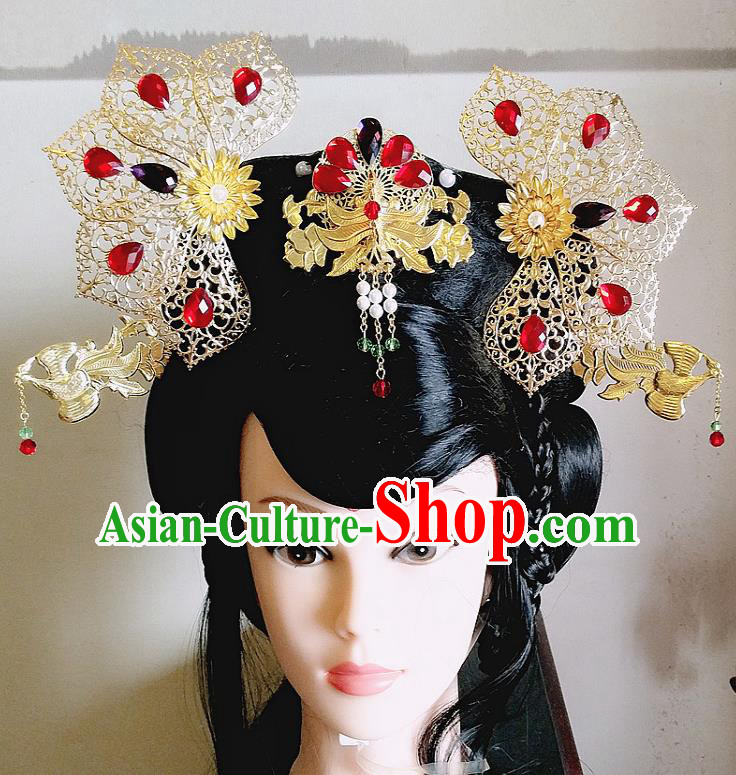 Chinese Ancient Imperial Consort Hair Accessories Traditional Hanfu Palace Phoenix Coronet Hairpins for Women