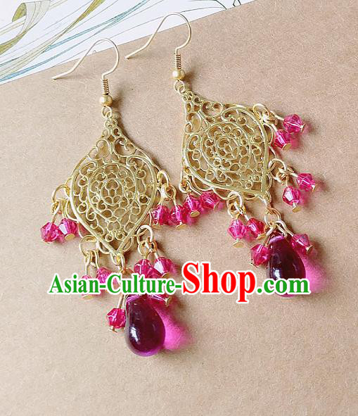 Chinese Ancient Hanfu Jewelry Accessories Traditional Palace Queen Earrings for Women