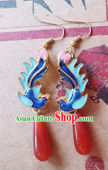 Chinese Ancient Hanfu Jewelry Accessories Traditional Palace Blueing Phoenix Agate Earrings for Women