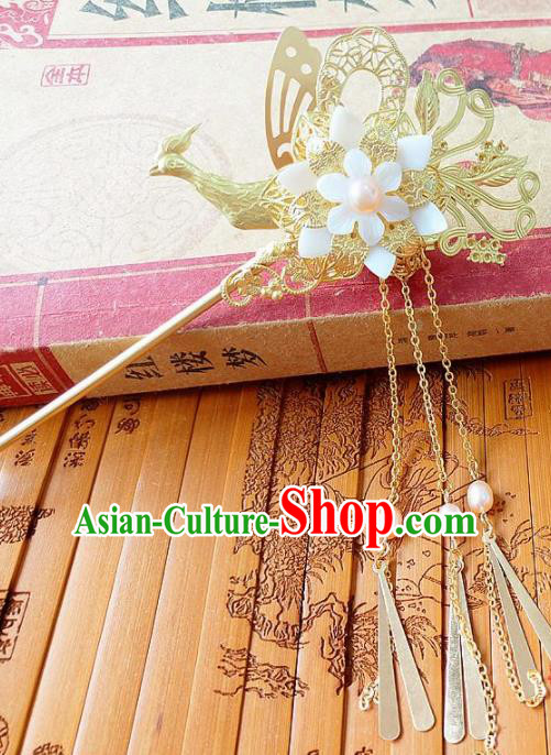 Chinese Ancient Princess Hair Accessories Traditional Hanfu Phoenix Tassel Hairpins for Women