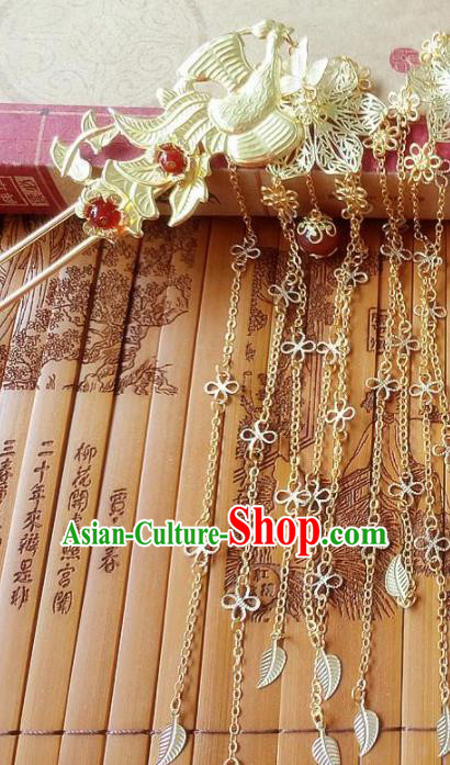 Chinese Ancient Princess Hair Accessories Traditional Hanfu Phoenix Tassel Step Shake Hairpins for Women