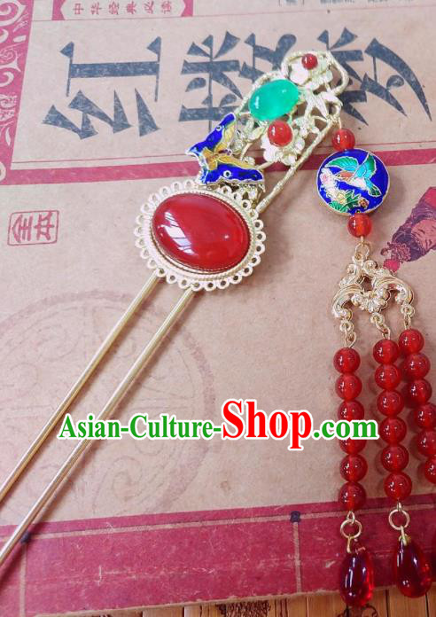 Chinese Ancient Queen Hair Accessories Traditional Hanfu Blueing Butterfly Agate Hairpins for Women