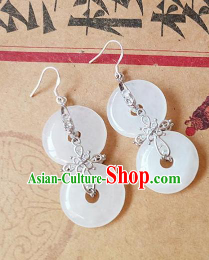 Chinese Ancient Princess Jewelry Accessories Traditional Palace Hanfu Jade Earrings for Women