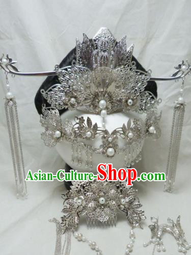Chinese Ancient Palace Queen Hairpins Hair Accessories Traditional Argent Phoenix Coronet for Women