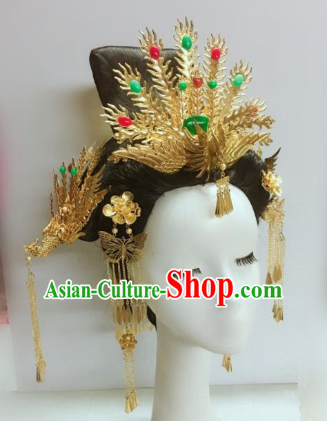Chinese Ancient Hairpins Palace Queen Hair Accessories Traditional Phoenix Coronet for Women