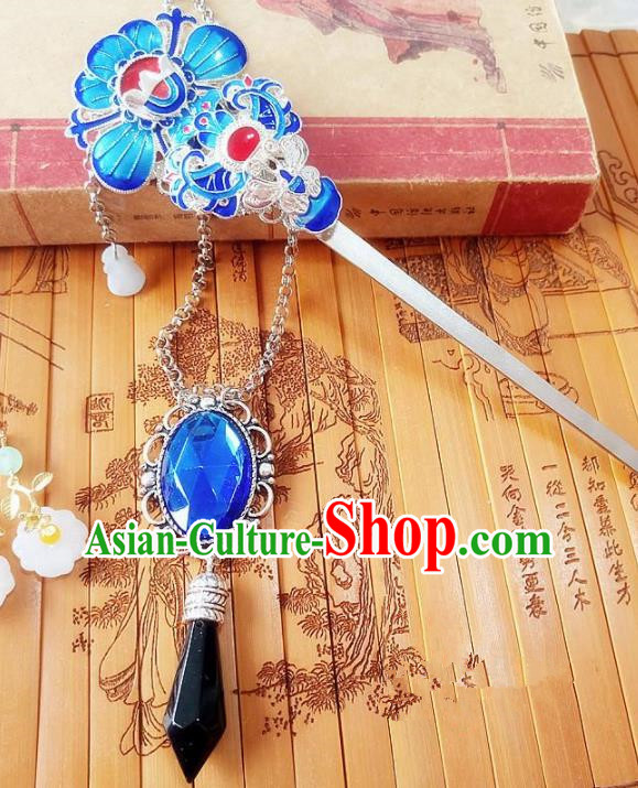Chinese Ancient Princess Hair Accessories Traditional Hanfu Hair Clip Blueing Hairpins for Women