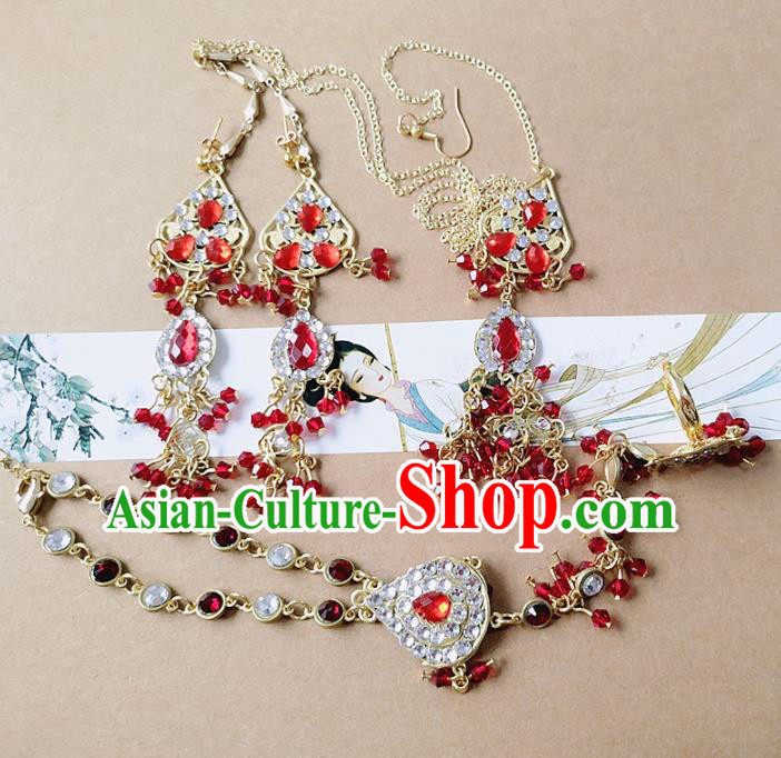 Chinese Ancient Princess Jewelry Accessories Traditional Hanfu Hair Clasp and Earrings for Women
