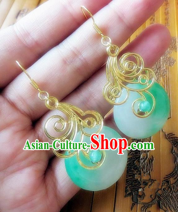 Chinese Ancient Princess Jewelry Accessories Traditional Hanfu Jade Earrings for Women