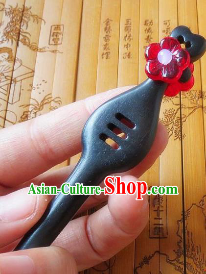 Chinese Ancient Princess Hair Accessories Traditional Hanfu Red Flower Ebony Hairpins for Women