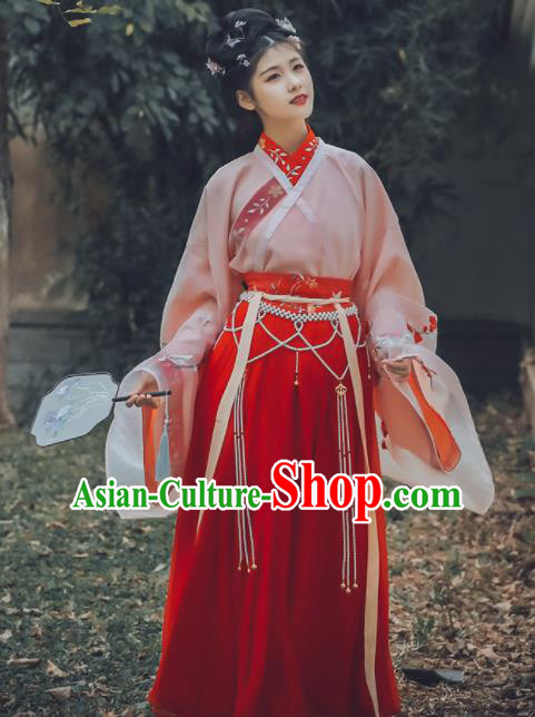 Traditional Chinese Jin Dynasty Princess Replica Costumes Ancient Palace Lady Embroidered Hanfu Dress for Women