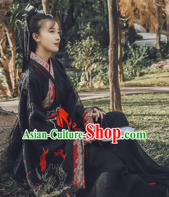 Traditional Chinese Jin Dynasty Swordswoman Replica Costumes Ancient Drama Peri Black Hanfu Dress for Women