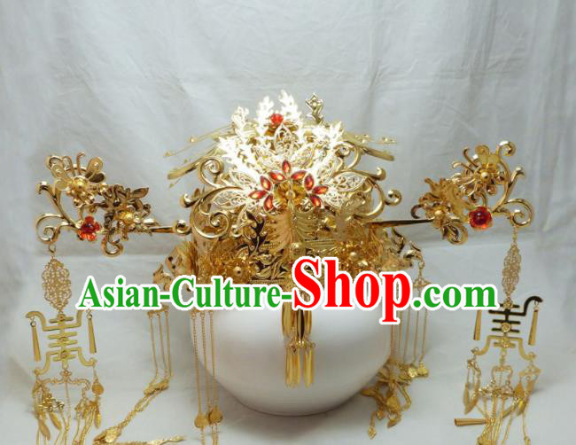 Chinese Ancient Palace Queen Hairpins Phoenix Coronet Hair Accessories Traditional Hair Comb for Women