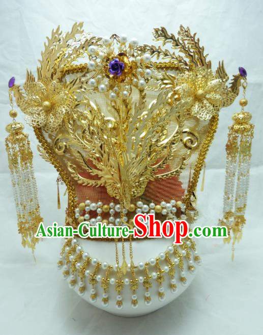 Chinese Ancient Hair Accessories Queen Golden Phoenix Coronet Traditional Palace Hairpins for Women