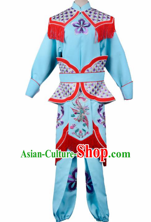 Professional Chinese Traditional Beijing Opera Costume Peking Opera Swordswomen Blue Clothing for Adults