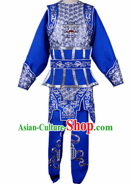 Professional Chinese Traditional Beijing Opera Takefu Costume Peking Opera Swordsmen Blue Clothing for Adults