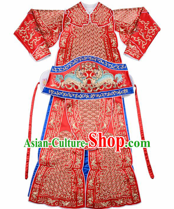 Professional Chinese Beijing Opera Costume Traditional Peking Opera Imperial Bodyguard Red Clothing for Adults