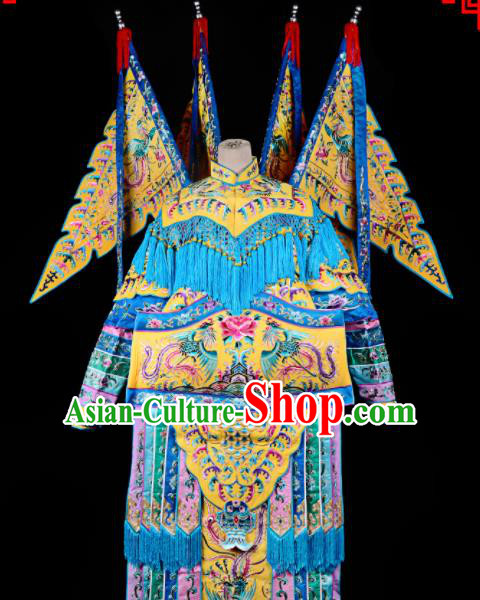 Professional Chinese Traditional Beijing Opera Female General Yellow Costume for Adults