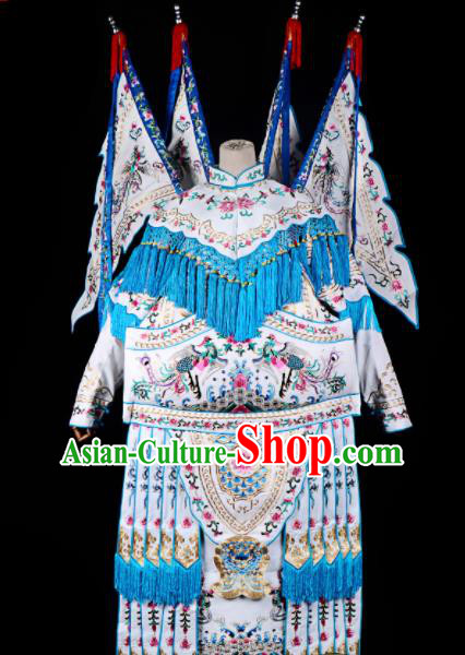 Professional Chinese Traditional Beijing Opera Female General Costume Peking Opera White Clothing for Adults