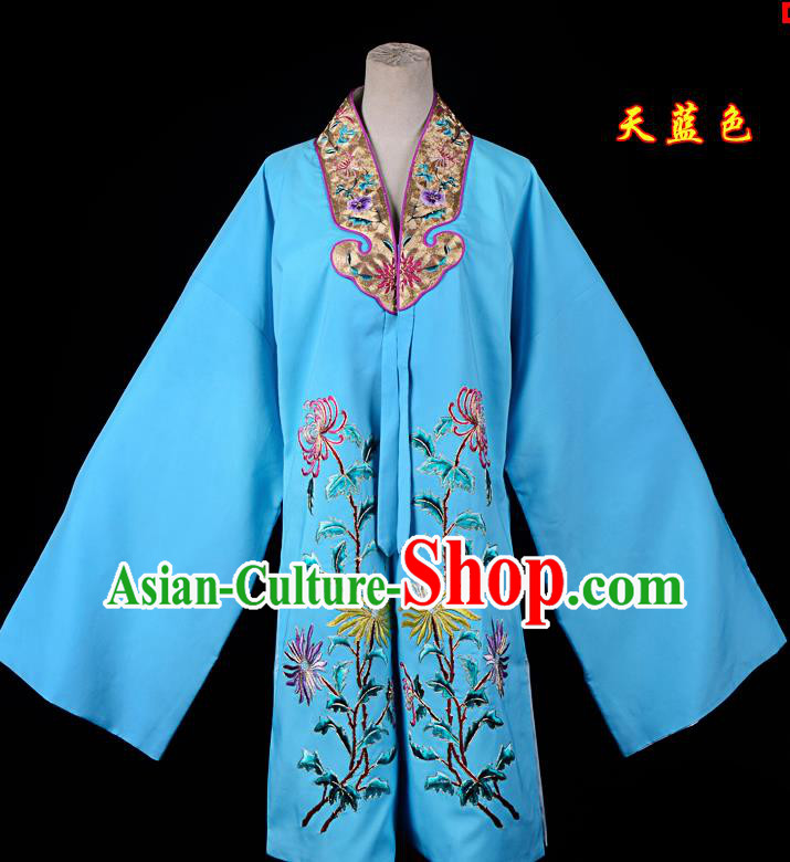 Professional Chinese Traditional Beijing Opera Princess Costume Embroidered Chrysanthemum Blue Dress for Adults