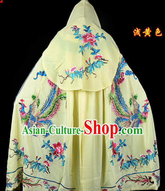 Professional Chinese Traditional Beijing Opera Swordswomen Costume Embroidered Yellow Cloak for Adults
