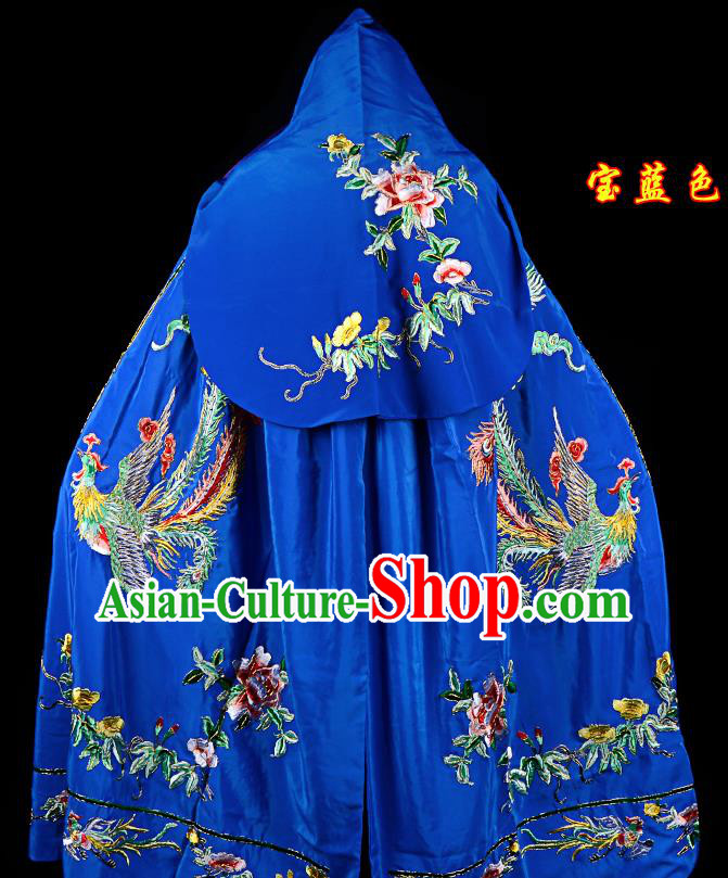 Professional Chinese Traditional Beijing Opera Swordswomen Costume Embroidered Royalblue Cloak for Adults