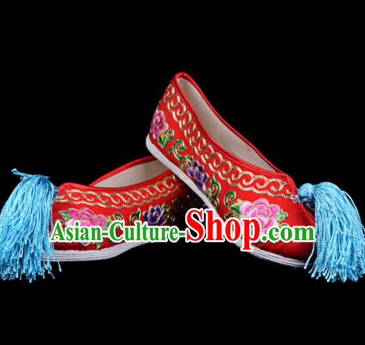 Professional Chinese Beijing Opera Diva Shoes Ancient Traditional Red Embroidered Shoes for Women