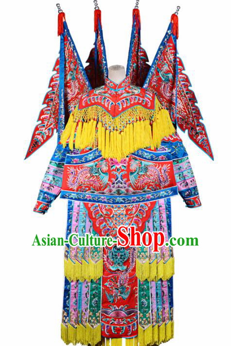 Professional Chinese Traditional Beijing Opera Female General Red Costume for Adults