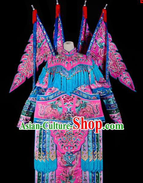 Professional Chinese Traditional Beijing Opera Female General Pink Costume for Adults