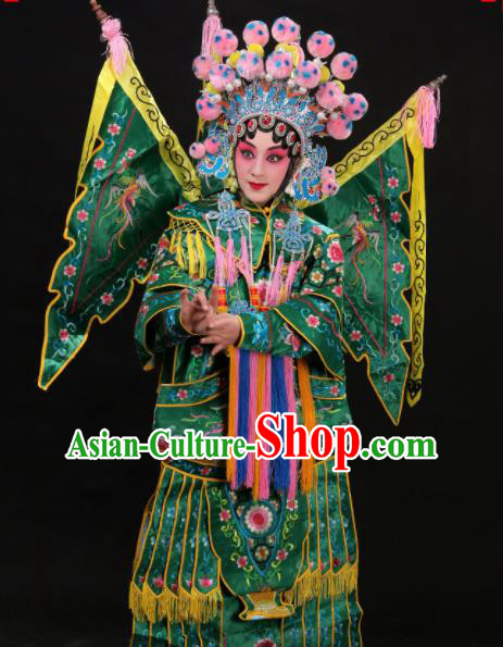 Professional Chinese Traditional Beijing Opera Costume Female General Embroidered Green Clothing for Adults