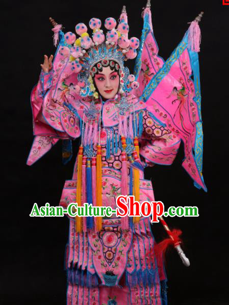 Professional Chinese Traditional Beijing Opera Costume Female General Embroidered Pink Clothing for Adults
