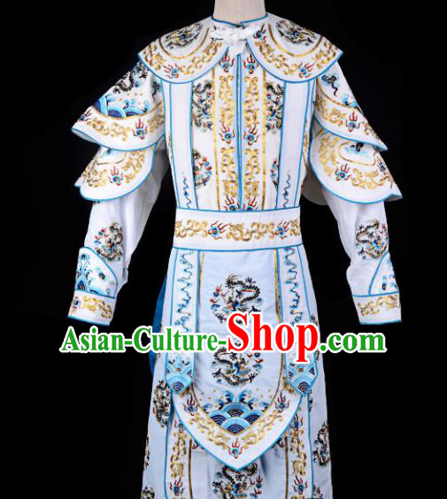 Professional Chinese Beijing Opera Takefu Costume Traditional Peking Opera White Clothing for Adults