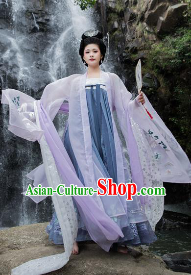 Chinese Traditional Tang Dynasty Imperial Consort Replica Costume Ancient Embroidered Hanfu Dress for Women