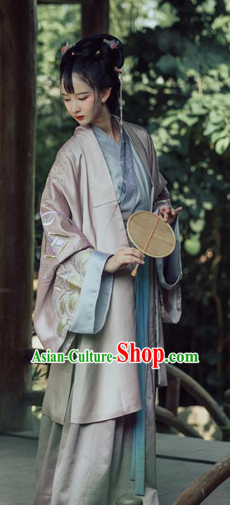 Chinese Traditional Song Dynasty Nobility Lady Replica Costume Ancient Embroidered Hanfu Dress for Women